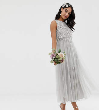 Maya Bridesmaid sleeveless midaxi tulle dress with tonal delicate sequin overlay in soft grey