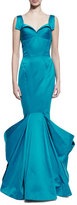 Zac Posen Sleeveless Pleated Mermaid Gown, Blue