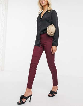Y.A.S Peyton slim fit trousers in burgundy