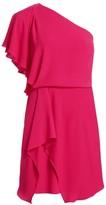 Halston Draped Skirt Flowy One Shoulder Dress