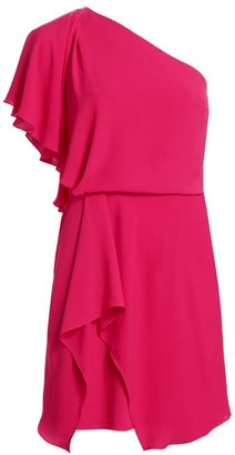 Halston Draped Skirt Flowy One Shoulder Dress