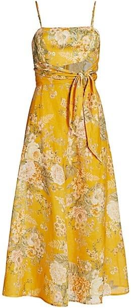Zimmermann Amelie Floral Tie Linen Midi A-Line Dress