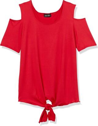 Star Vixen Women's Petite Cold-Shoulder Short SLV Tiefront Brushed Knit Top