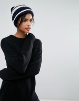 Whistles Breton Stripe Knitted Hat with Pom