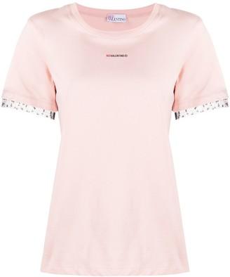RED Valentino logo-print mesh trim T-shirt