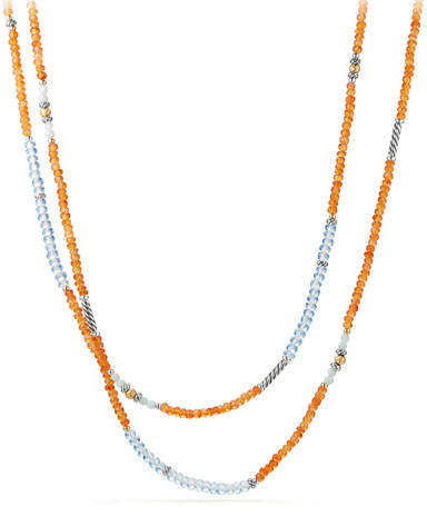 David Yurman Tweejoux® Long Bead Necklace in Orange/Blue Stone Mix, 36""