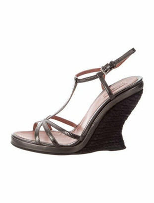 Alaia Leather T-Strap Sandals Grey