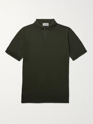 John Smedley Payton Slim-Fit Wool and Cotton-Blend Polo Shirt - Men - Green