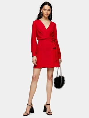 Topshop Twist Front Mini Dress - Red