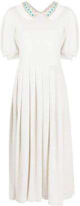 Parlor Resin-Embellished Collar Dress