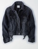 American Eagle Outfitters AE Lace-Up-Back Denim Jacket