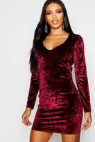 boohoo Sadie Crushed Velvet Plunge Bodycon Dress