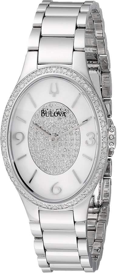 Bulova Women's Diamond Gallery Quartz Watch with White Enamel Dial and Stainless Steel Strap, (96R193)