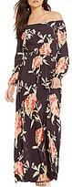 Billabong Crystal Ball Floral-Print Off-the-Shoulder Maxi Dress