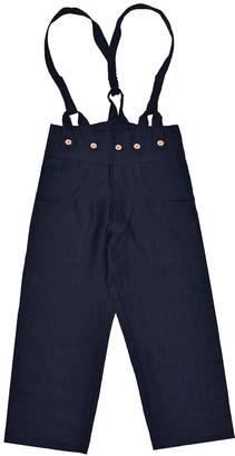 Lanefortyfive Pantaloni4 Women's Trousers With Braces - Black Linen