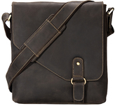 Visconti Brown Buckle Leather Messenger Bag