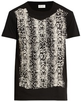 Saint Laurent Reptile-print cotton T-shirt