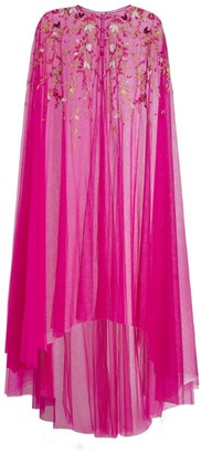 Marchesa Notte Floral-Embroidered Chiffon Cape
