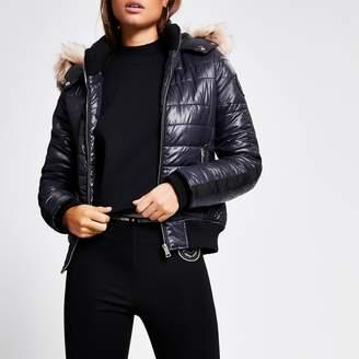 River Island Womens Navy faux fur hood high shine padded jacket