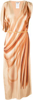Jil Sander asymmetric sleeves maxi dress - women - Silk/Calf Leather - 34
