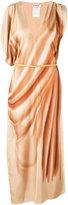 Jil Sander asymmetric sleeves maxi dress - women - Silk/Calf Leather - 36
