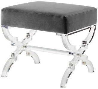 Inspired Home Enzo Velvet Acrylic X-Leg Ottoman, Gray