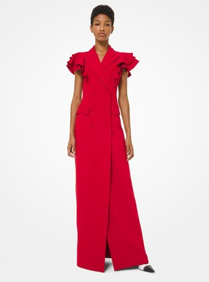 Michael Kors Double Crepe Sable Ruffle-Sleeve Blazer Gown