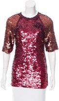 Lanvin Sequin-Embellished Short Sleeve Top