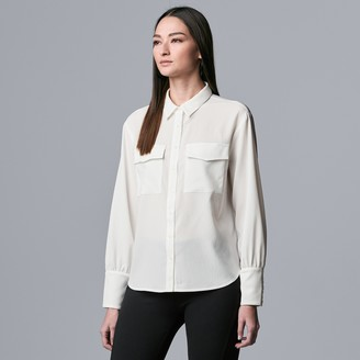 Petite Simply Vera Vera Wang Button Front Blouson Sleeve Blouse