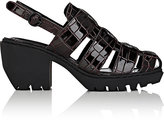 Opening Ceremony WOMEN'S CROCODILE-STAMPED LEATHER SLINGBACK SANDALS-DARK BROWN SIZE 6