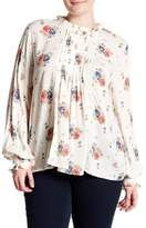 Blu Pepper Long Sleeve Printed Lace Detail Blouse (Plus Size)