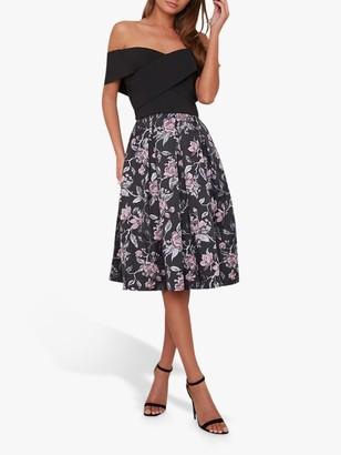 Chi Chi London Curve Justine Dress, Black Multi