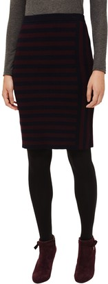 Phase Eight Stacey Cut Out Stripe Skirt, Navy/Port