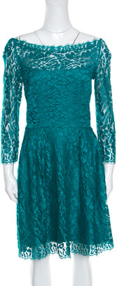 Issa Jade Green Floral Lace Long Sleeve Sheath Dress M