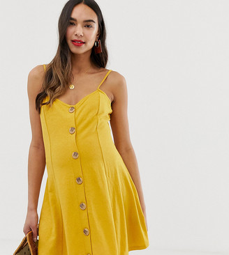 ASOS DESIGN Maternity mini slubby cami swing dress with faux wood buttons