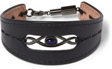 Lanvin Infinity Leather Gunmetal-Tone Bracelet