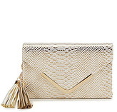 Kate Landry Tasseled Metallic Snake Envelope Clutch