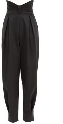 RED Valentino Bow-waist Grain De Poudre Slouched-leg Trousers - Black