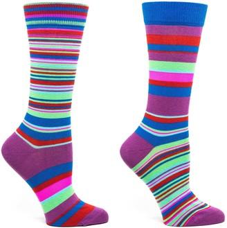 Ozone Womens Transitional Stripes Sock-Violet OSFM