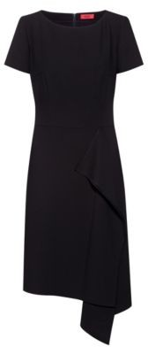 HUGO BOSS Short Sleeved Dress With Draped Detail - Black