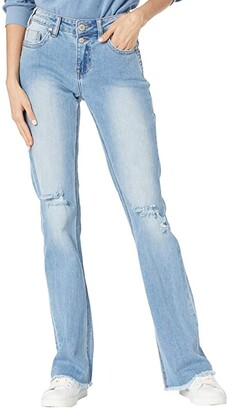 Rock and Roll Cowgirl Mid-Rise Bootcut in Light Wash W1-8214