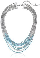 """Kenneth Cole New York Poolside Turquoise"""" Mixed Seed Bead Multi-Row Necklace, 17"""" + 3"""" Extender"""