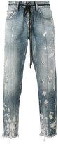 Off-White diagonal stripe print cropped jeans - men - Cotton/Acrylic/Polyester - 28
