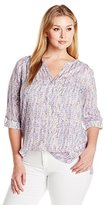 NYDJ Women's Plus Size Braided Trim Henley Tunic