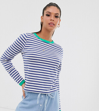 Brave Soul Tall eloise stripe long sleeve t shirt with contrast trim-Navy