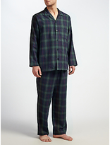 John Lewis Blackburn Brushed Cotton Check Pyjamas, Navy/green
