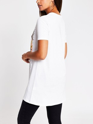 River Island LATiger Print Jersey T-shirt Dress - Cream