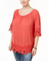 Style&Co. Style & Co Plus Size Off-The-Shoulder Crochet-Trim Top, Created for Macy's