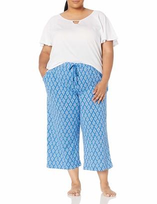 Karen Neuburger Women's Plus Size Short Sleeve Top and Capri PJ Set with Wicking Technology
