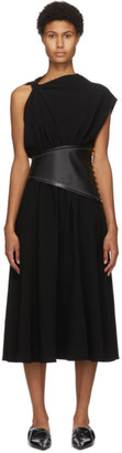 Proenza Schouler Black Asymmetric Sleeve Mid-Length Dress
